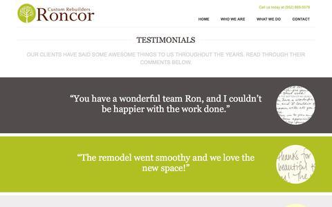 Screenshot of Testimonials Page roncor.com - TESTIMONIALS | Rancor - captured Oct. 6, 2014