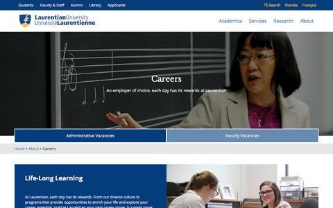 Screenshot of Jobs Page laurentian.ca - Laurentian University | Careers - captured Sept. 23, 2018