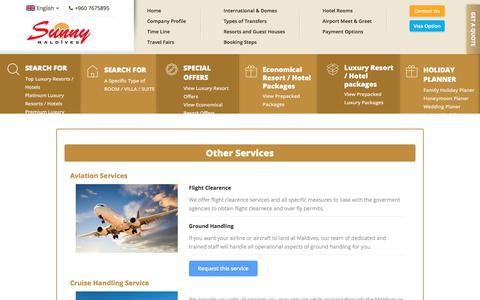 Screenshot of Services Page sunnymaldives.com - Maldives Travel services, Aviation and flight Handling - captured Nov. 10, 2017