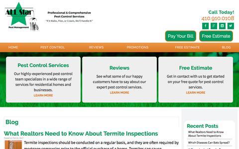 Screenshot of Blog allstarpestmanagement.com - Our Blogs | Baltimore, MD | All Star Pest Management - captured July 29, 2018