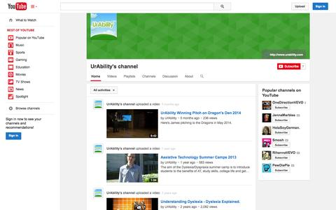 Screenshot of YouTube Page youtube.com - UrAbility's channel  - YouTube - captured Oct. 26, 2014