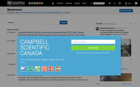 Screenshot of Press Page campbellsci.ca - Newsroom - Company news, announcements, new products, industry articles, our clients - captured July 12, 2017