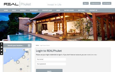 Screenshot of Login Page realphuket.net - User authentication   REAL Phuket - captured Oct. 29, 2014