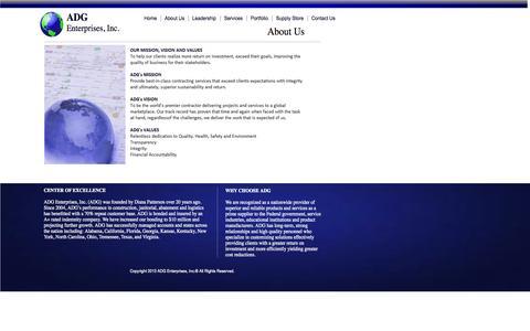 Screenshot of About Page adgenterprises.net - About ADG Enterprise - captured Oct. 4, 2014