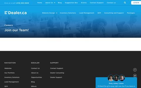 Screenshot of Jobs Page edealer.ca - Careers - EDealer - captured Sept. 21, 2019
