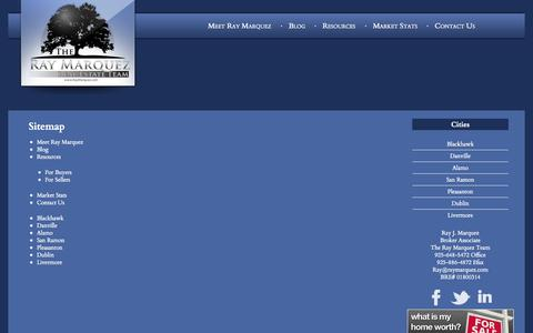 Screenshot of Site Map Page raymarquez.com - Blackhawk Real Estate, Danville Homes, Alamo Investment Property, San Ramon, Pleasanton, Dublin, Livermore - The Ray Marquez Real Estate Team - captured Oct. 26, 2014
