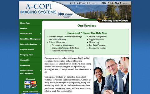 Screenshot of Services Page a-copi.com - Maine Copier Vendors and Printer Dealer, Maine Office Equipment | Sales and Service for Copiers, Fax Machines and Printers | ACOPI | A-Copi Imaging Systems and Kinney Office Systems - captured Oct. 6, 2014