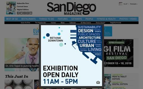 Screenshot of Home Page sandiegomagazine.com - San Diego Magazine - San Diego Restaurants, Events, Photos, The Best of San Diego - captured Oct. 8, 2015