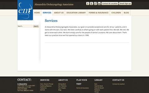 Screenshot of Services Page entalexandria.com - Services | Alexandria Otolaryngology Associates - captured Nov. 20, 2016
