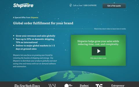 Screenshot of Landing Page shipwire.com - Fulfillment services from Shipwire - captured Oct. 27, 2014