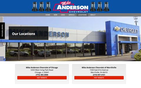 Screenshot of Locations Page mikeandersonchevy.com - Chevrolet Dealer Locations | Mike Anderson Chevy - captured Oct. 19, 2017