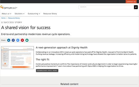 Screenshot of Team Page optum360.com - A Shared Vision for Revenue-Cycle Success - captured Feb. 20, 2020