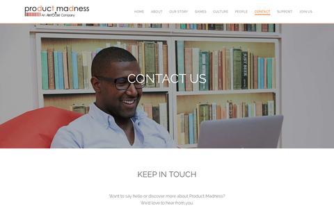 Screenshot of Contact Page productmadness.com - Contact Us - captured Nov. 17, 2015