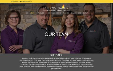 Screenshot of Team Page energysavers.us - Our Team | Energy Savers Fireplaces | Oakdale, Minnesota - captured Sept. 28, 2018