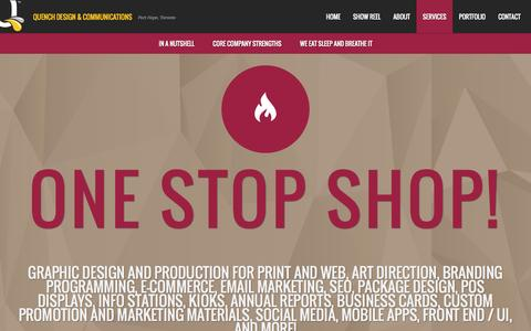 Screenshot of Services Page quenchme.ca - QUENCH Design | Port Hope, Cobourg, Peterborough, Oshawa, Toronto | Graphic design, websites, branding, marketing, advertising, ecommerce, online stores and corporate promotions for businesses - captured Oct. 3, 2014