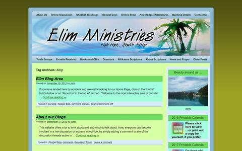 Screenshot of Blog elim.co.za - blog | Elim Ministries - captured Nov. 5, 2016