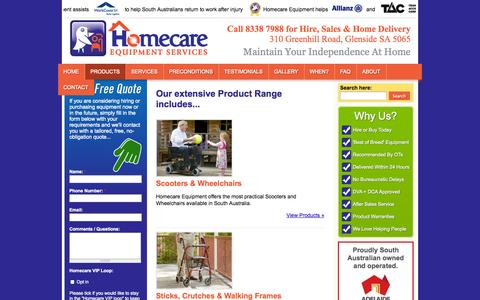 Screenshot of Products Page homecareequipment.com.au - Product Range - captured Oct. 2, 2014