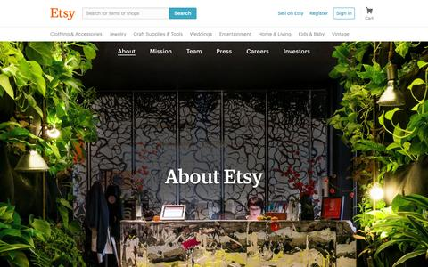 Screenshot of About Page etsy.com - About Etsy - captured Aug. 8, 2016