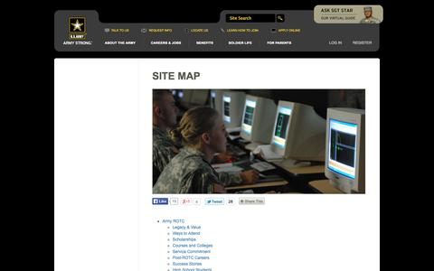 Screenshot of Site Map Page goarmy.com - Site Map | goarmy.com - captured Sept. 18, 2014