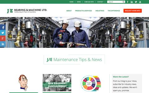 Screenshot of Press Page je-bearing.com - News | J/E Bearing and Machine - captured Nov. 2, 2014