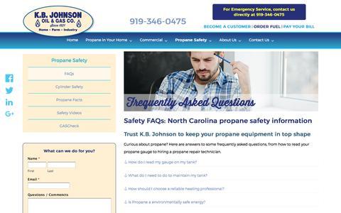 Screenshot of FAQ Page kbjohnson.com - FAQs - K.B. Johnson - captured Oct. 16, 2017