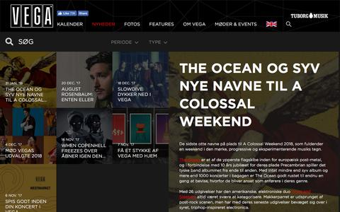 Screenshot of Press Page vega.dk - A Colossal Weekend programmet er klart  - VEGA   Musikkens hus - captured Feb. 3, 2018