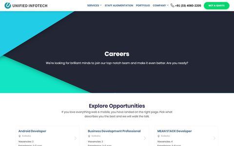 Screenshot of Jobs Page unifiedinfotech.net - Career Growth Opportunities at Unified Infotech - captured Oct. 8, 2018