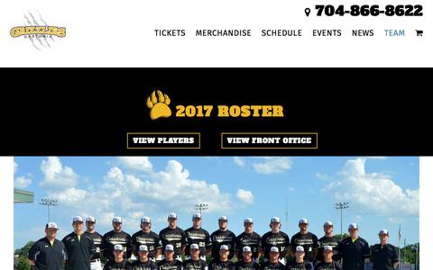 Screenshot of Team Page gastoniagrizzlies.com - Team - Gastonia Grizzlies - captured May 15, 2017