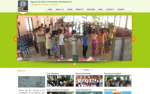 Screenshot of Home Page abcmm.org - Agency for Basic Community Development - captured Oct. 4, 2014