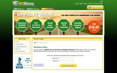 Screenshot of Login Page rvrhino.com - My Account - Login - captured Oct. 7, 2014