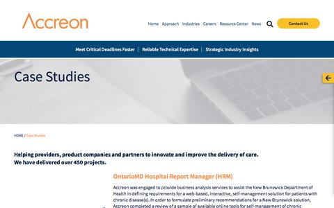 Screenshot of Case Studies Page accreon.com - Case Studies - Accreon - captured June 9, 2018