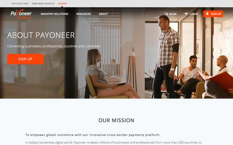 Screenshot of About Page payoneer.com - About Payoneer | Payoneer Escrow - captured July 30, 2018