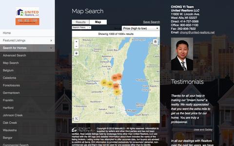 Screenshot of Maps & Directions Page united-realtors.net - Map Search   We service homes in Metro Milwaukee, Waukesha, Ozaukee, Jefferson, Washington, Lake Country, Hartland, Merton, Pewaukee, Oconomowoc, Delafield, Brookfield, New Berlin, Muskego, Sussex, Menomonee Falls, Oak Creek, Franklin, Bayview, Green - captured Feb. 13, 2016