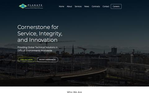 Screenshot of Home Page planate.net - Global Technical Solutions | Planate Management Group - Home - captured Sept. 25, 2018