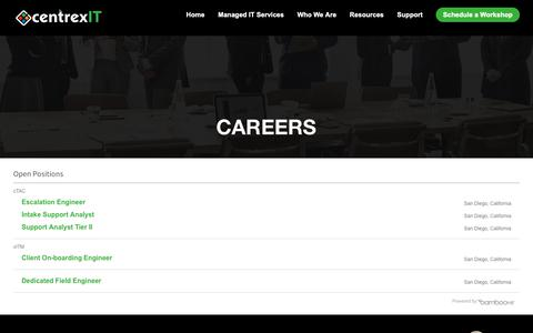 Screenshot of Jobs Page centrexit.com - Careers - captured Oct. 11, 2018