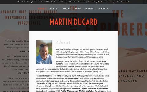 Screenshot of About Page martindugard.com - About — Martin Dugard - captured June 2, 2016