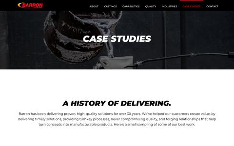 Screenshot of Case Studies Page barron-industries.com - Case Studies - Barron Industries - captured Aug. 1, 2018