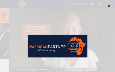 Screenshot of Home Page acfegroup.org - African Community Fund for Education Group   acfegroup.org - captured Oct. 3, 2018