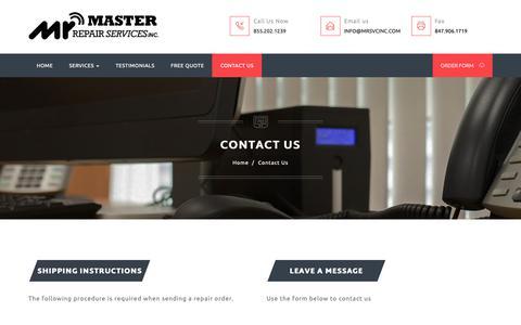 Screenshot of Contact Page mrsvcinc.com - Master Repair Services - Contact Us - captured Nov. 2, 2018