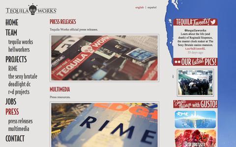 Screenshot of Press Page tequilaworks.com - Press | Tequila Works - captured Dec. 15, 2016