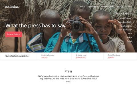 Screenshot of Press Page zidisha.org - Zidisha       Press - captured Sept. 19, 2018