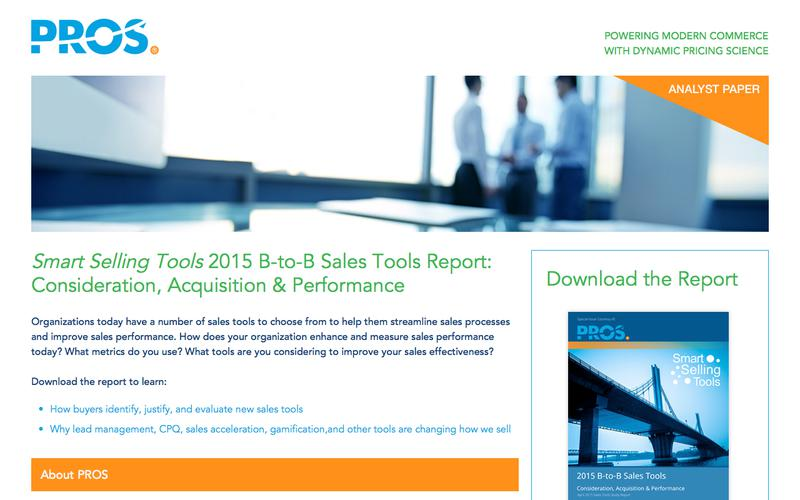 2015 B-to-B Sales Tools  | PROS Resources | PROS