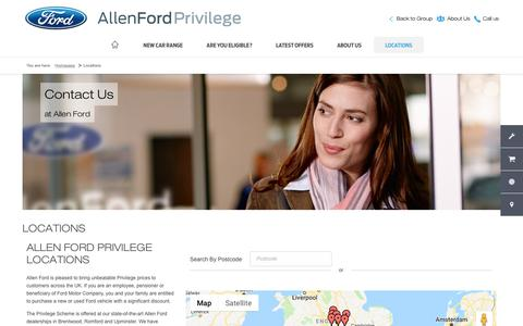 Screenshot of Contact Page Locations Page allenford.com - Ford Privilege Dealerships | South of England & Midlands | Allen Ford - captured Oct. 24, 2018