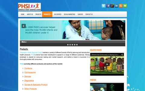 Screenshot of Products Page phsindia.org - Products | PHSINDIA - captured Oct. 3, 2014