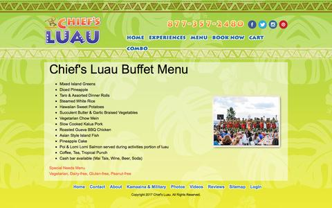 Screenshot of Menu Page chiefsluau.com - Chief's Luau Menu - captured Jan. 24, 2017