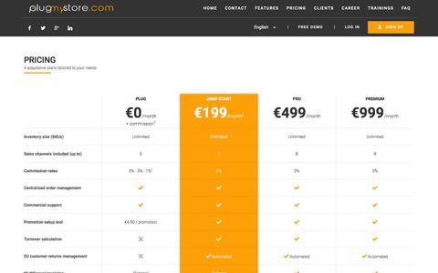 Screenshot of Pricing Page plugmystore.com - Pricing | Plugmystore - captured Feb. 2, 2016