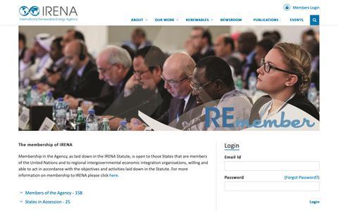 Screenshot of Login Page irena.org - Login - captured Oct. 2, 2018