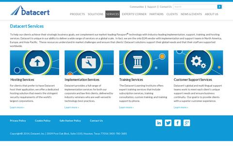 Screenshot of Services Page datacert.com - Datacert services – Passport implementation, support, hosting, & training - captured July 20, 2014