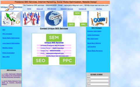 Screenshot of Contact Page unique-seo-services.com - Contact - Unique SEO services - captured Oct. 9, 2014