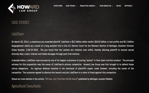 Screenshot of Case Studies Page howardlawgr.com - Case Studies - Howard Law Group - captured Nov. 17, 2015